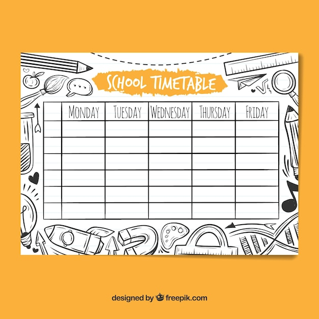 Download Vector - School timetable template with hand drawn style