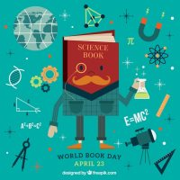 Science book background with elements Vector | Free Download