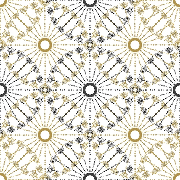 Seamless geometric vintage pattern vector black and gold circle