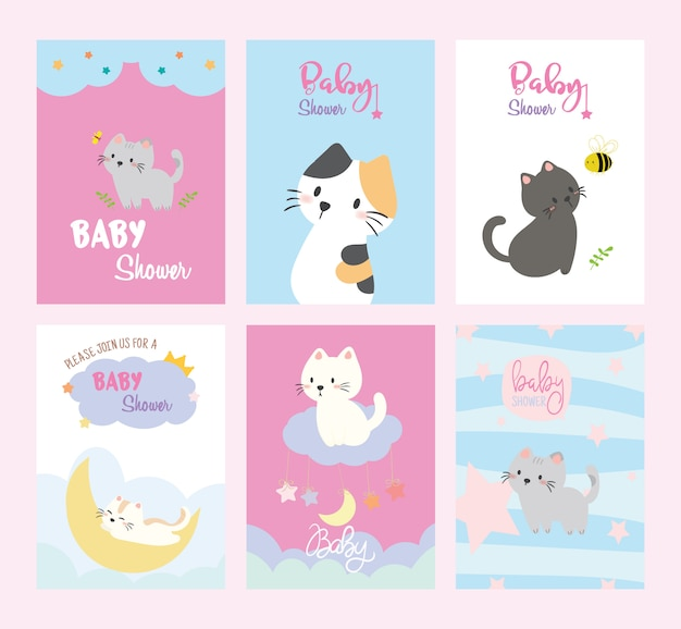Set of baby shower invitations cards, birthday, cats, poster