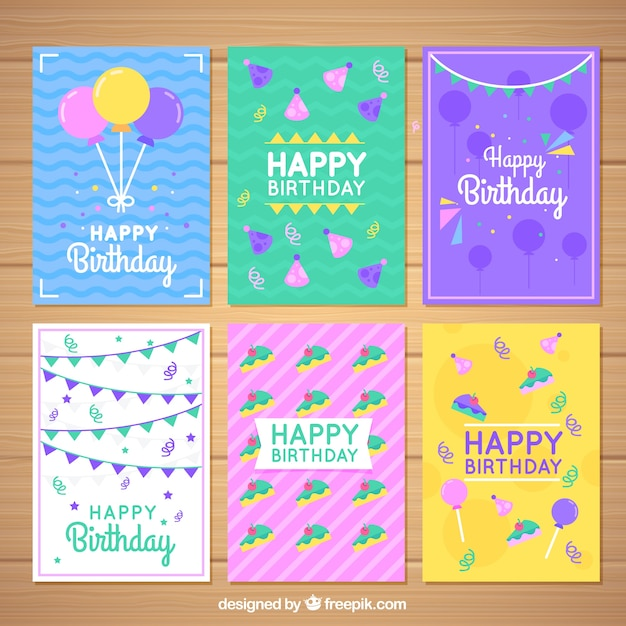 Set of colorful birthday cards in flat design Vector Free Download