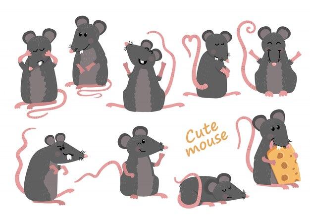 Set of cute mice in various poses in cartoon style Vector Premium