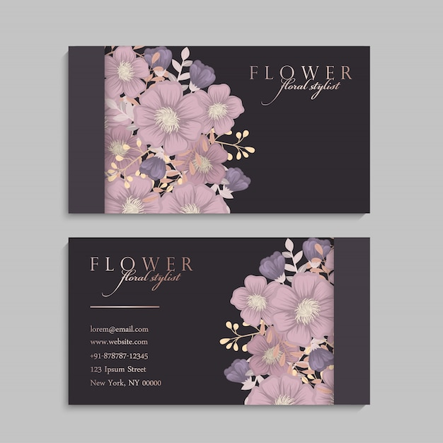 Set of front and back of business card with flowers Vector Free