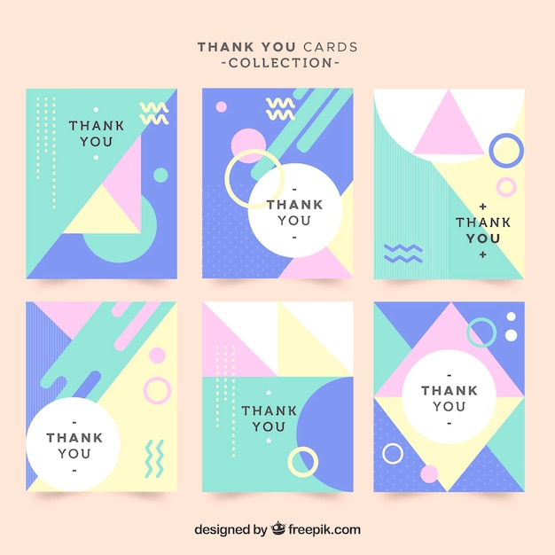 Set of modern thank you cards in pastel colors Vector Free Download