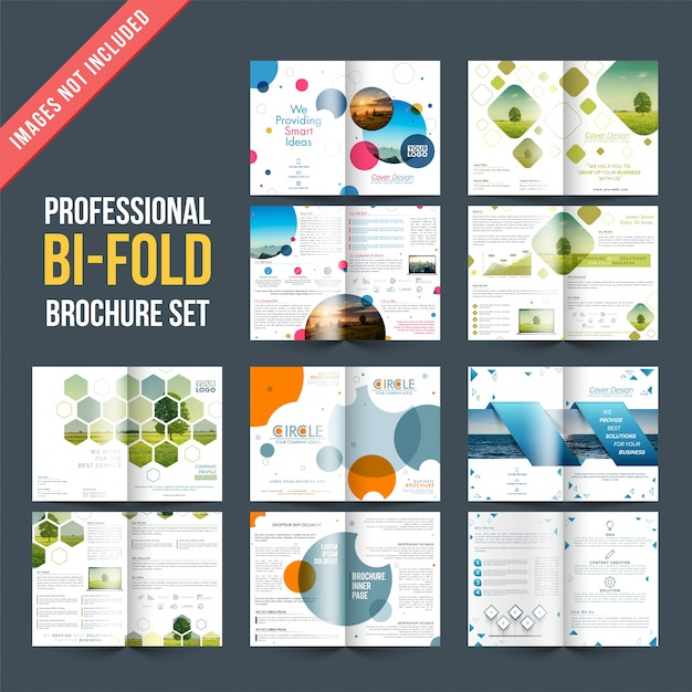 Set of 5 brochures designs with four pages designs template Vector