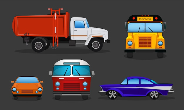 Set of cartoon cars - public transportation or private vehicles