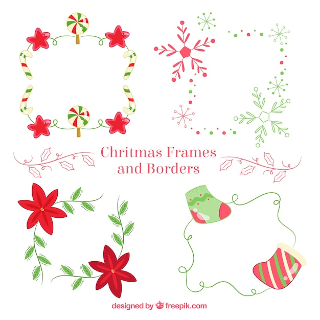 Download Vector - Set of christmas frames with flowers - Vectorpicker