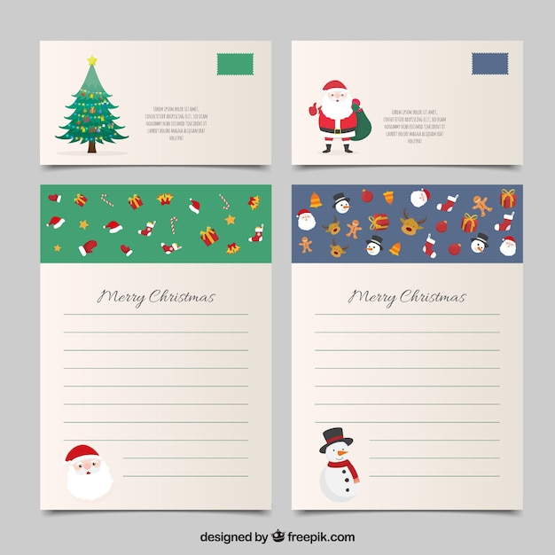 Set of christmas letter templates and envelopes Vector Free Download - christmas letter templates