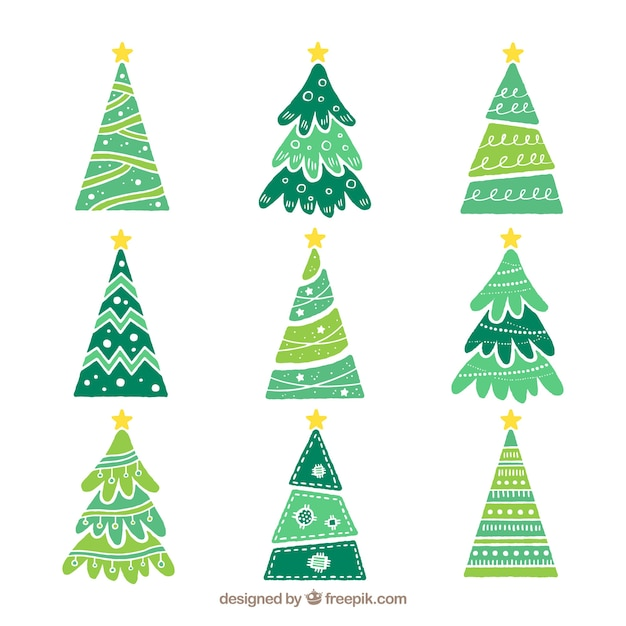 Set of hand-drawn christmas trees Vector Free Download