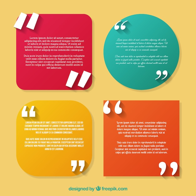 Set of quotes template Vector Free Download - how to create a quotation template