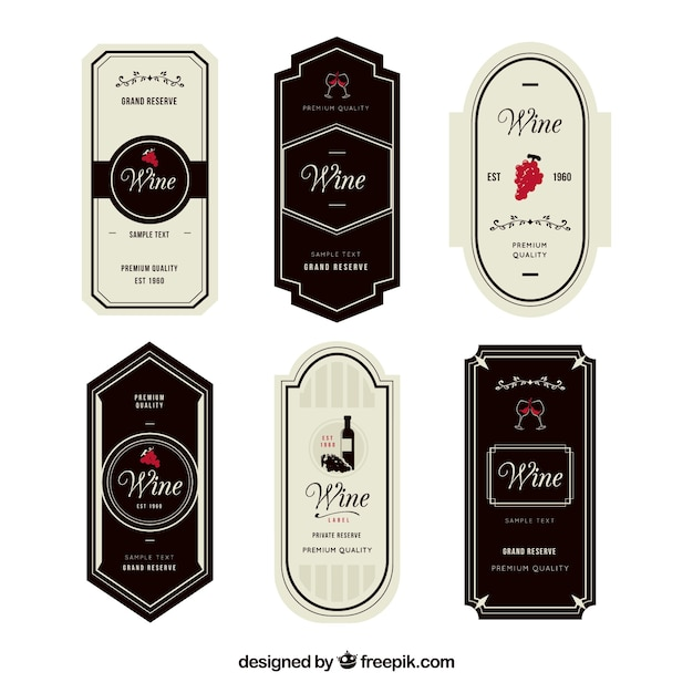 Set of six elegant wine labels with red details Vector Free Download