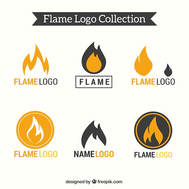 Set of six flame logos Vector Free Download - flame logo