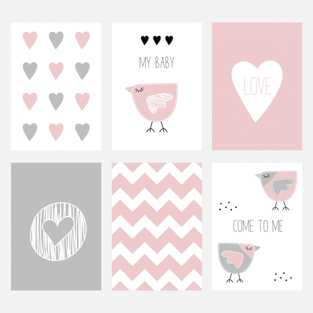 The set of six cute postcards with a birdie Vector Premium Download