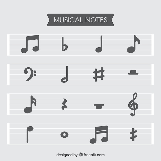 Set of staves and musical notes in flat design Vector Free Download