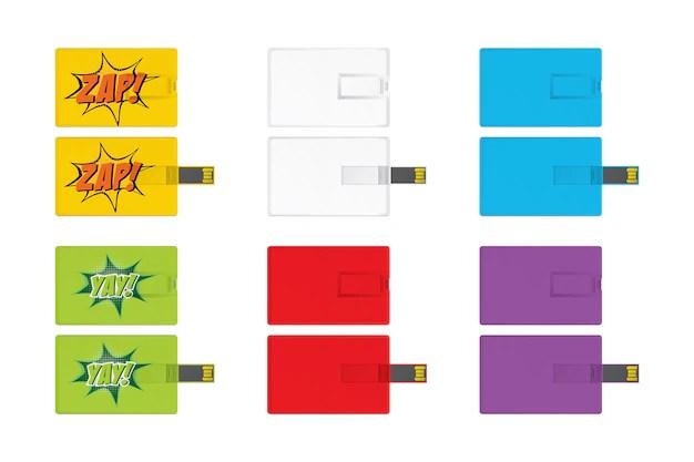 Set of universal serial bus card template for branding item Vector