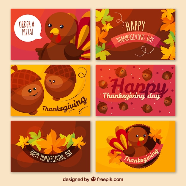 Several thanksgiving cards with characters Vector Free Download