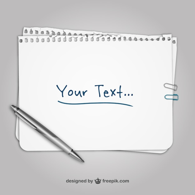 Sheet of paper template Vector Free Download - Notebook Paper Template