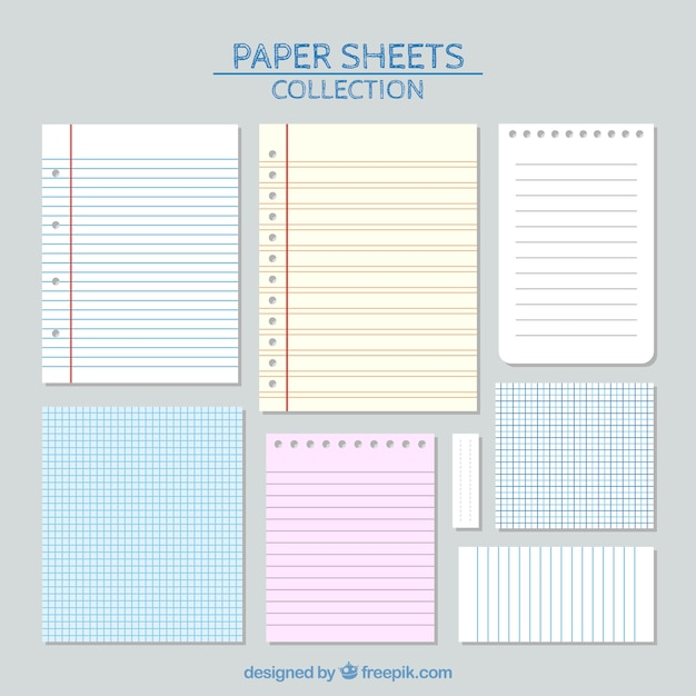 Sheets of paper with lines set Vector Free Download - lines paper