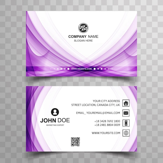 Shiny purple business card Vector Free Download