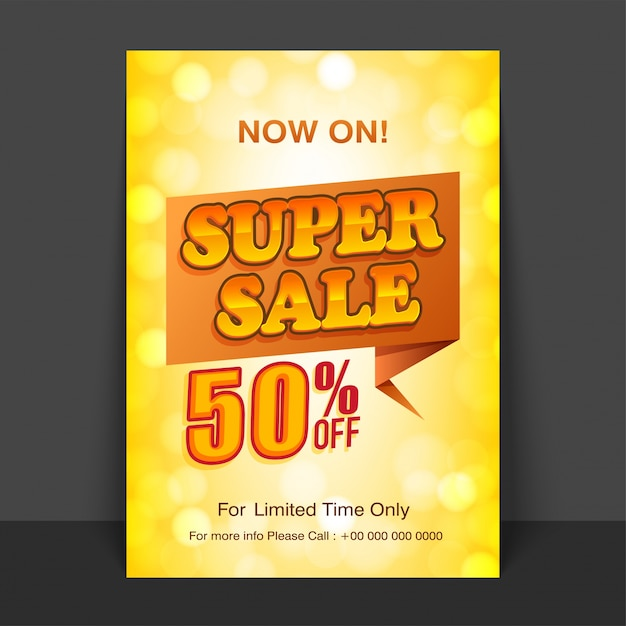 Shiny yellow Flyer, Template or Poster design of Super Sale with - discount flyer template