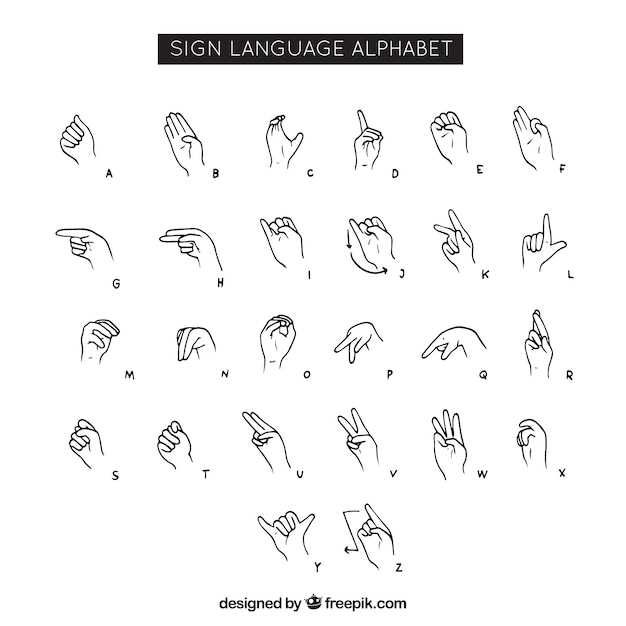 Sign language alphabet in hand drawn style Vector Free Download