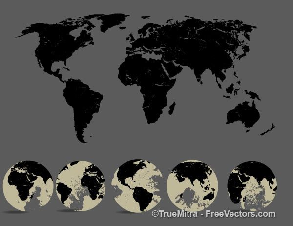 Silhouette world map and five view of the globe Vector Free Download