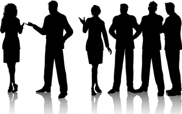 Silhouettes of a group of business people having conversations