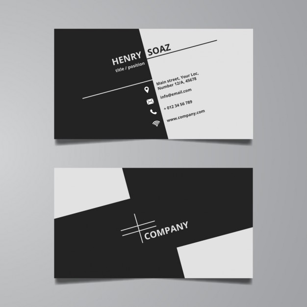 Simple black and white business card template Vector Free Download - Buisness Card Template