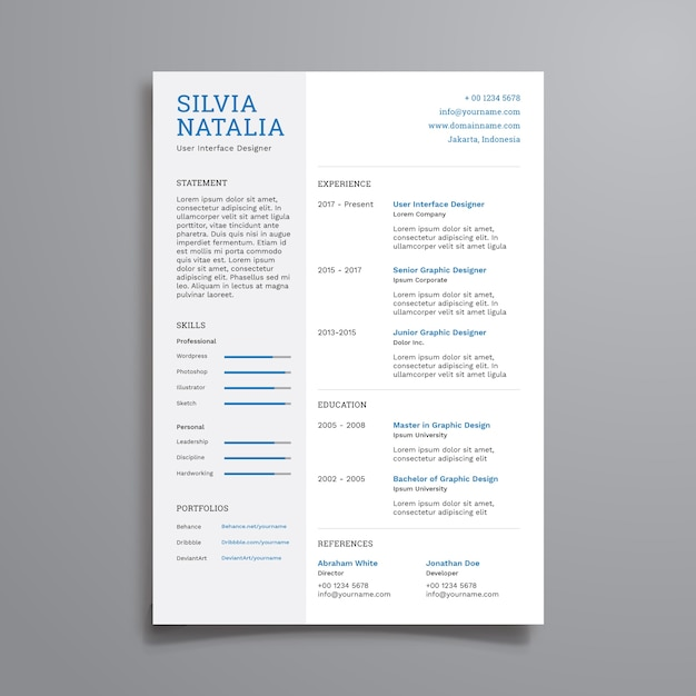 Simple clean resume template Vector Premium Download - clean resume template