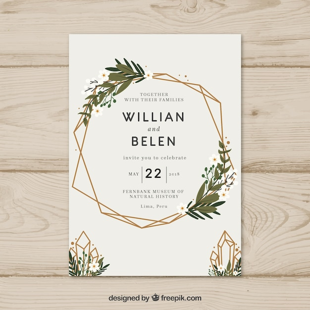 Simple hand drawn wedding invitation with a wreath Vector Free