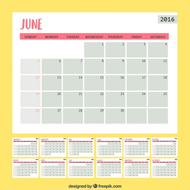 Simple monthly planner Vector Free Download