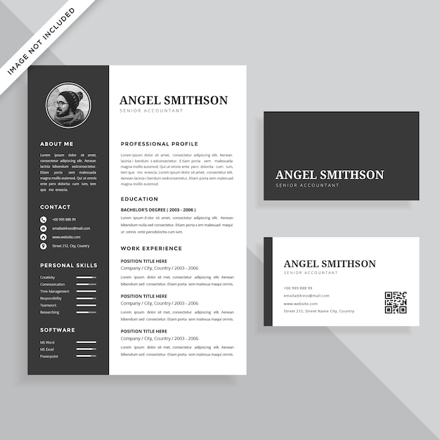 Simple Professional Resume CV and Business Card Template Design Set - resume business cards