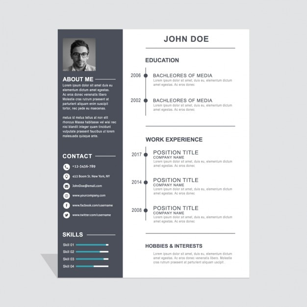 freepik template cv psd