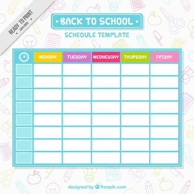 Schedule Vectors, Photos and PSD files Free Download - school scheduling template