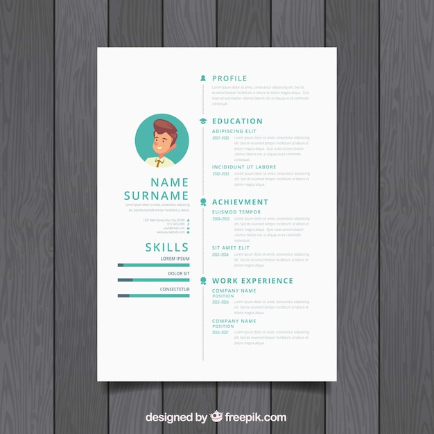 Simple white resume design Vector Free Download - simple resume design
