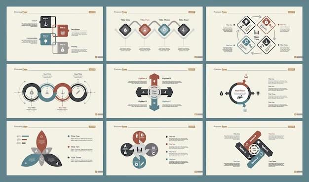 Six marketing charts slide templates set Vector Free Download