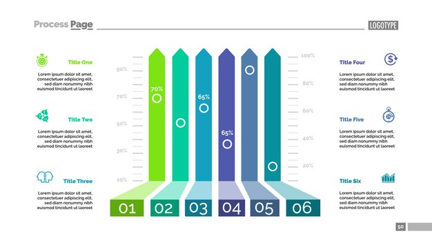 Six options bar chart template for presentation Vector Free Download
