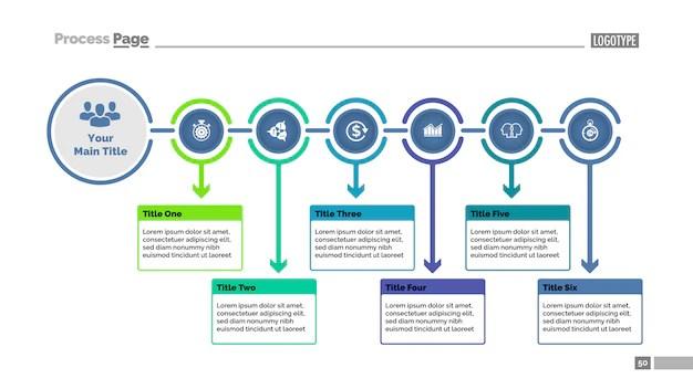 Six steps process chart slide template business data flowchart