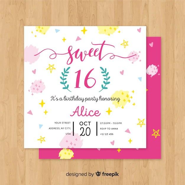 Sixteen birthday paint spots invitation template Vector Free Download