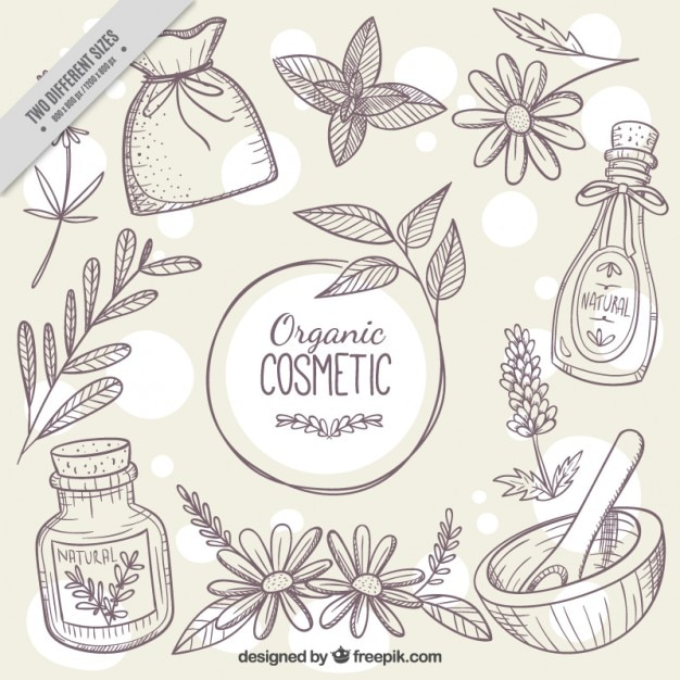 Sketches background of natural cosmetics Vector Free Download - background sketches