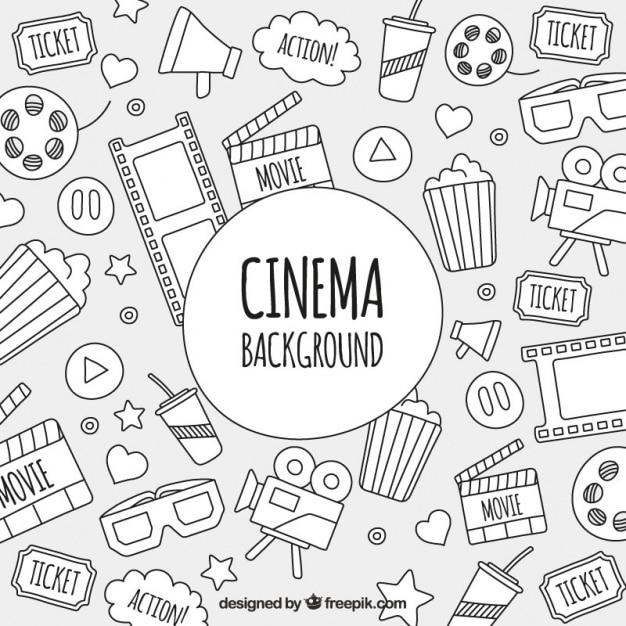 Sketches of cinema objects background Vector Free Download - background sketches