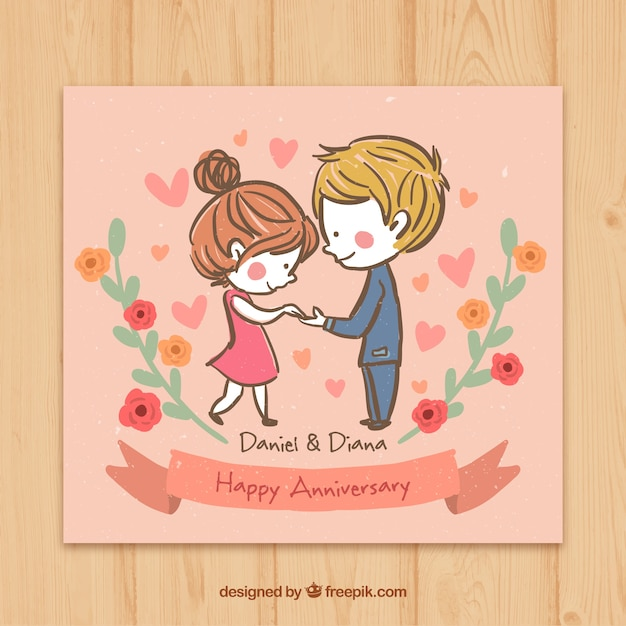 Sketchy couple in love happy anniversary card Vector Free Download