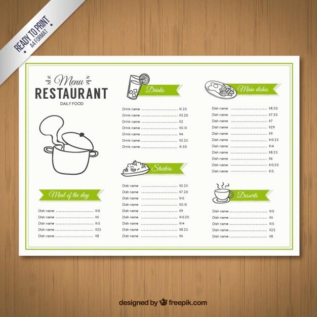 Sketchy menu template Vector Free Download