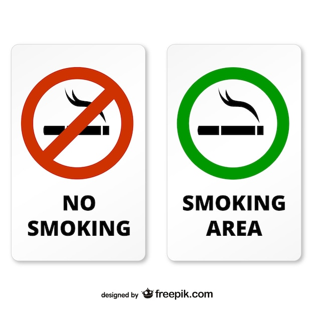 Smoking and non smoking area signs Vector Free Download