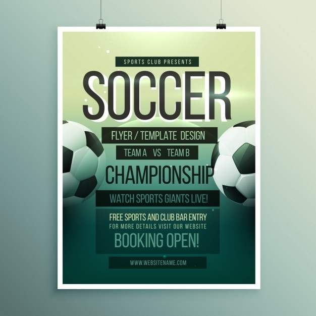 Soccer tournament brochure template Vector Free Download - competition flyer template