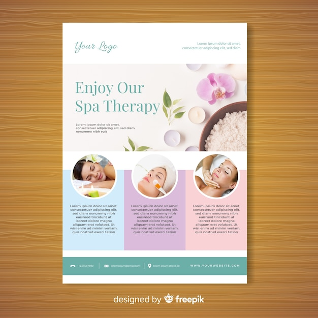 Spa brochure template Vector Free Download