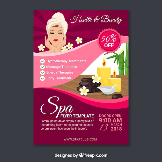 Spa flyer template in flat design Vector Free Download - spa brochure template