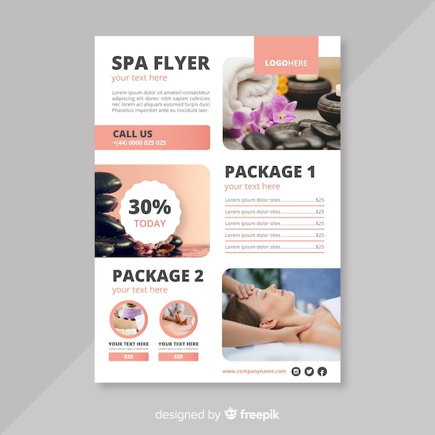 Spa flyer template Vector Free Download