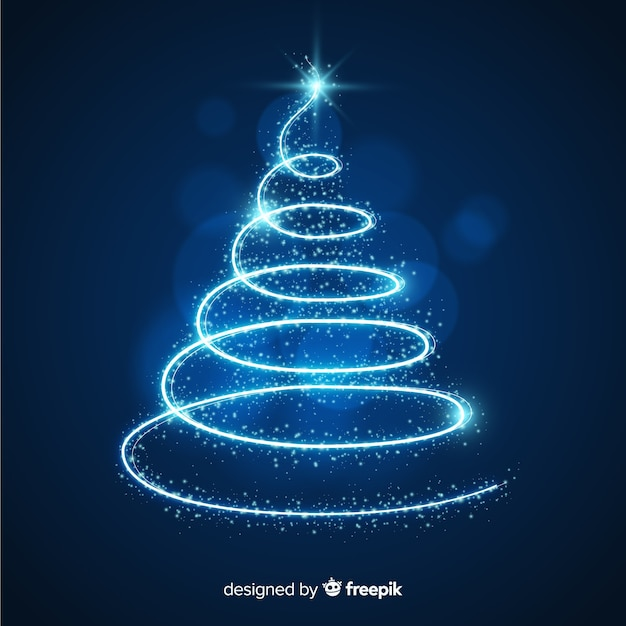 Sparkle trail christmas tree Vector Free Download