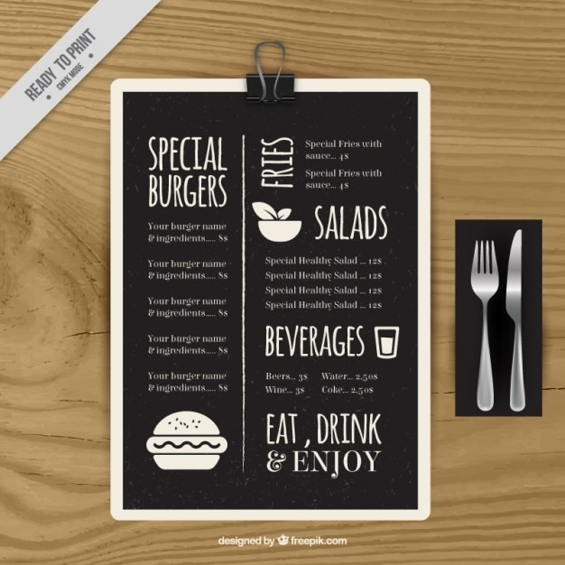 Recipe Vectors, Photos and PSD files Free Download - sample chalkboard menu template